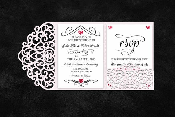 Tri Fold 5x7 Wedding Invitation Pocket Envelope Svg Template Etsy