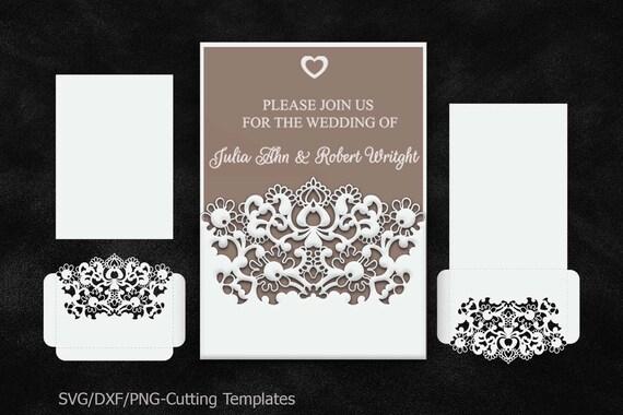 Wedding Invitation Envelopes Canada: Rustic Wedding Invitation Pocket Envelope 5x7 SVG Template