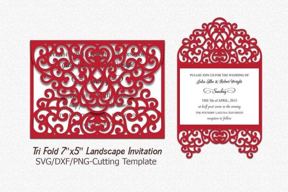 tri fold invitation svg laser cut wedding invitation etsy
