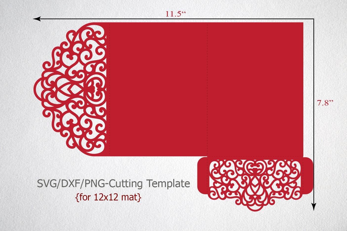 Tri-Fold 5x7 Wedding Invitation Pocket Envelope SVG Template, Tri ...
