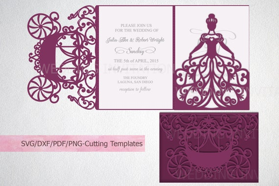 Quinceanera Invitation Template Svg File Princess Bride Carriage Cinderella Trifold Tri Fold Wedding Cricut