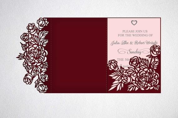 tri fold wedding invitation svg cricut laser cut template etsy