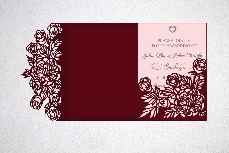 tri fold wedding invitation svg cricut laser cut template | Etsy