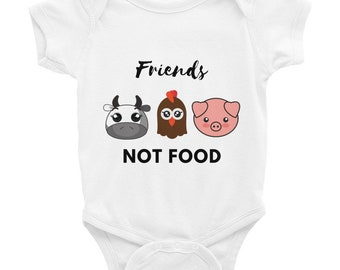 Friends Not Food, Lovely Vegan Onesie , short sleeve, baby bodysuit