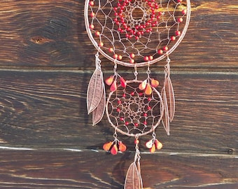 Red wire wrapped dream catcher