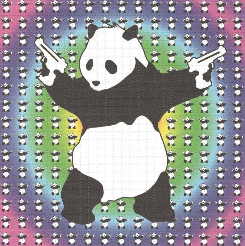 Psychedelic Panda Purple by Banksy Psychedelic Acid LSD Tabs Blotter Art  Print perforated Sheet