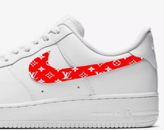 23507ee5303 LV inspired Custom Hand Painted Nike Air Force 1 Shoe (NEW) - Red and White  Trending Now