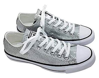 b7d59486ef4 Silver Glitter Custom Made Converse All Stars Wedding Homecoming Prom  Sparkling Bling Shoes (NEW) Trending Now