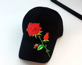6b308dbca9 Rose Hat Embroidered Custom Made Ball Cap Adjustable Stylish Rose  Embellished Design Hat (NEW) Trending Now