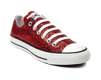 b000f92b7a0 Red Glitter Custom Made Converse All Stars Wedding Homecoming Prom  Christmas Holiday Sparkling Bling Shoes (NEW) Trending Now