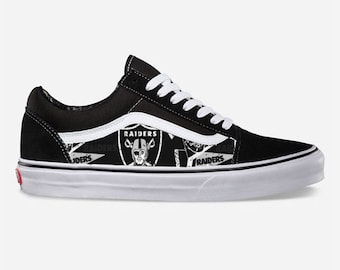 26431337deab Raiders Custom Made Vans Old Skool Skate Shoe (NEW) Trending Now Sports  Football Shoes