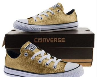 68bf91bbdc8 Gold Glitter Custom Made Converse All Stars Wedding Homecoming Prom  Sparkling Bling Shoes (NEW) Trending Now