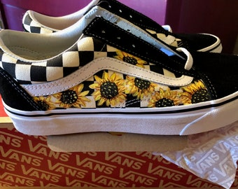 Sunflower Custom Hand Painted Vans Old Skool Primary Check Shoe (NEW)  Trending Now b3545a4bf