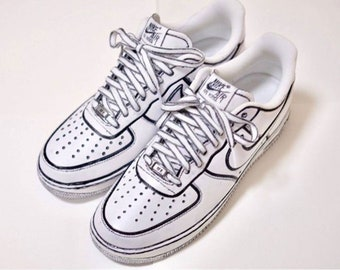 new style 71ebe 91b5e Cartoon inspired Custom Hand Painted Nike Air Force 1 Shoe (NEW) - Black  Trimmed Trending Now