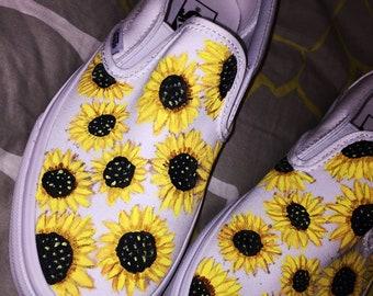 500af986623d28 Sunflower Custom Hand Painted Vans Classic Slip On Shoe (NEW) Trending Now