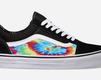 0de6ea7579 Tie Dye Custom Made Vans Old Skool Skate Shoe (NEW) Trending Now Hippie BOHO