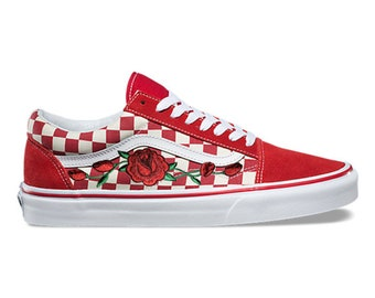 Rose Buds Custom Embroidered Vans White Red Checkered Old Skool Skate Shoe  (NEW) Trending Now 27a860922
