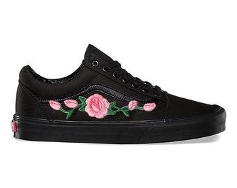 Rose toppen roze aangepaste geborduurd Vans Old Skool Skate