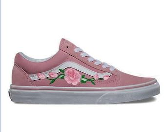 7159c2a71e0160 Rose Buds Custom Embroidered Vans Old Skool Pink Skate Shoe (NEW) Trending  Now
