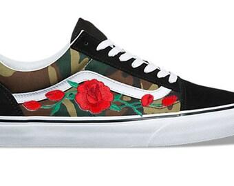 a9f476f94b51c9 Camo Rose Buds Custom Embroidered Vans Old Skool Skate Shoe (NEW) Trending  Now