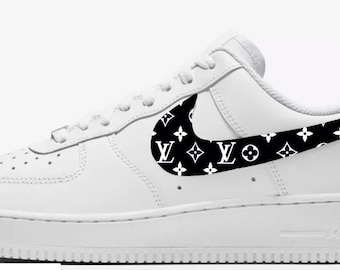 5c209be1a8 LV inspired Custom Hand Painted Nike Air Force 1 Shoe (NEW) - Black and  White Trending Now