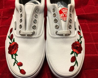 1e0223e0e0 Ready to Ship    Rose Buds (Red) Custom Embroidered Vans Era White Skate  Shoe (NEW) - Trending Now Size 8.5 Mens Womens 10