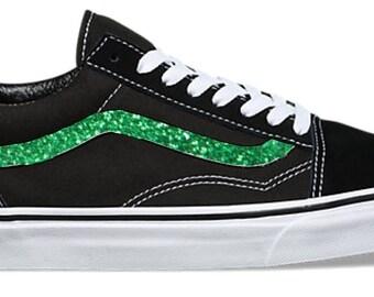Kelly Green Hand Painted Glitter Sidestripe Vans Old Skool Skate Shoe (NEW)  Trending Now b2638702c