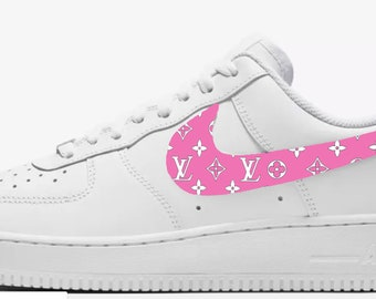 0f380f08eb4 LV inspired Custom Hand Painted Nike Air Force 1 Shoe (NEW) - Hot Pink and White  Trending Now