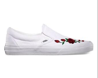 3d58067179a3 Rose Buds (Red) Custom Embroidered Vans Slip-On White Skate Shoe (NEW) -  Trending Now