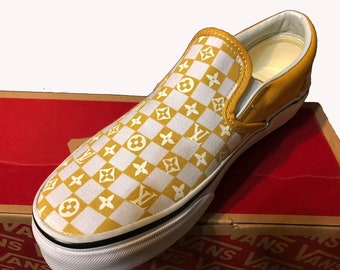 4757be579c8c LV Designer Custom Hand Painted Vans Slip On Primary Check Shoe (Various  Colors) (NEW) Trending Now