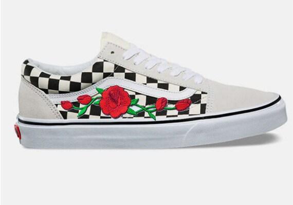 3529c06e9f23 Rose Buds Custom Embroidered Vans White Checkered Old Skool
