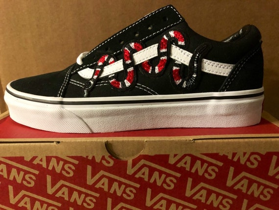 3f09aecd3a Snake Custom Embroidered Vans Old Skool Black and White Shoe