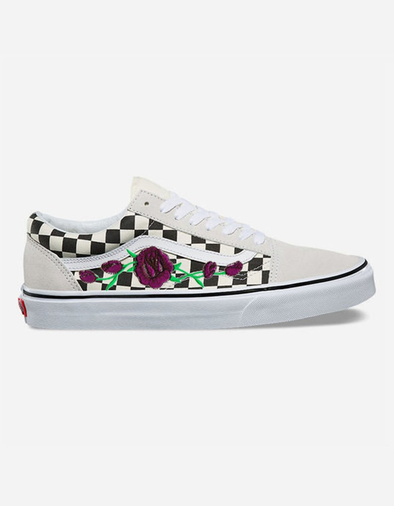 Rose Buds Purple Custom Embroidered Vans White Checkered Old  fad040832