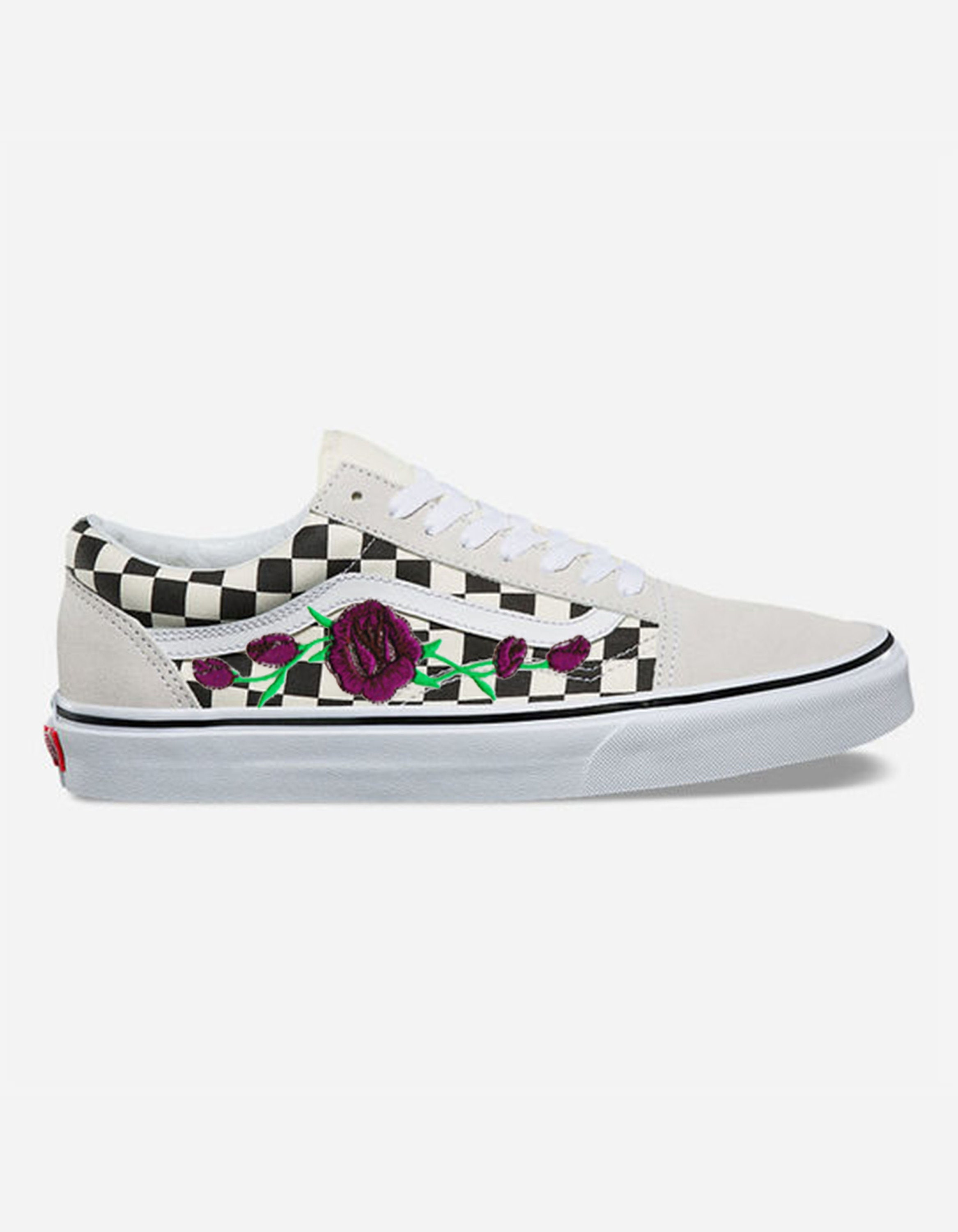 0f32d50789 Rose Buds Purple Custom Embroidered Vans White Checkered Old