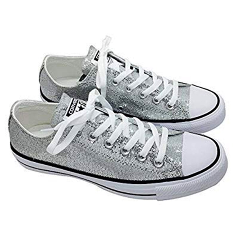 best service sale retailer men/man Silver Glitter Custom Made Converse All Stars Wedding Homecoming Prom  Sparkling Bling Shoes (NEW) Trending Now