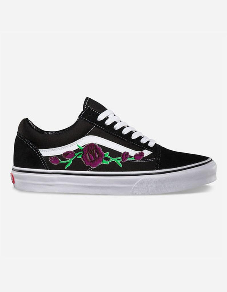 5d8de794adea3a Rose Buds Purple Custom Embroidered Vans Old Skool Skate