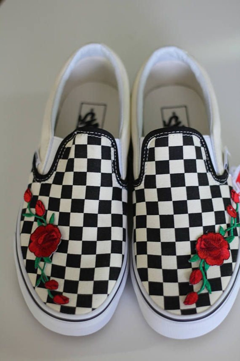 Rose Buds Red Custom Embroidered Vans Checkered Slip-On White  a0a82c767