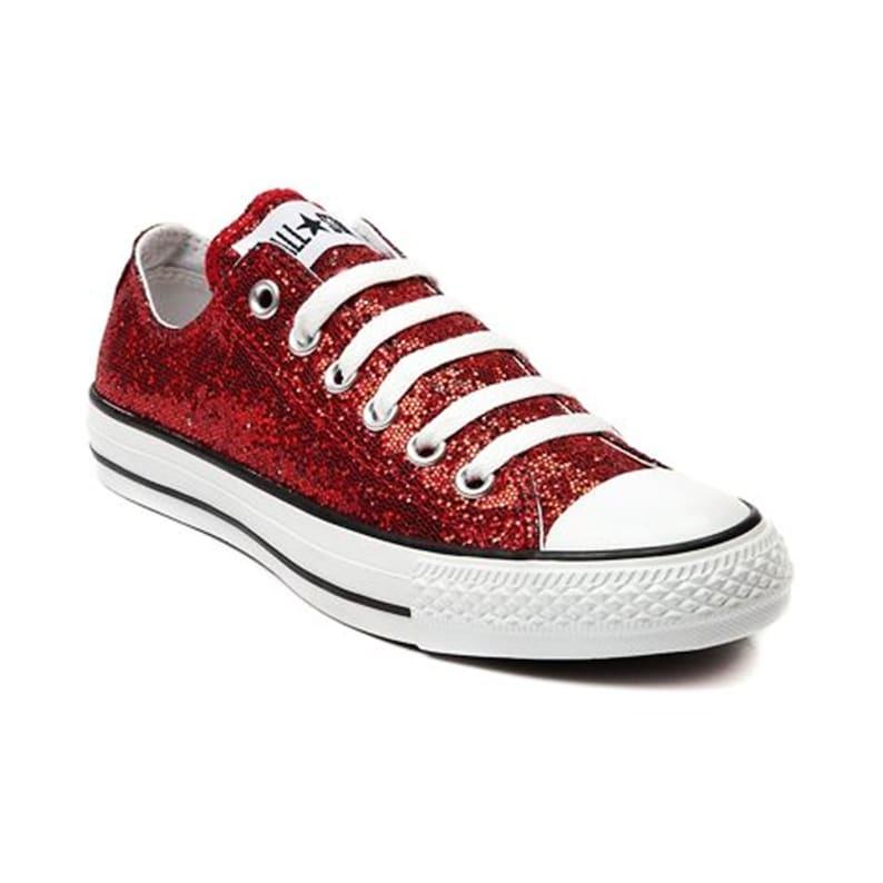 50f38e08965f Red Glitter Custom Made Converse All Stars Wedding Homecoming