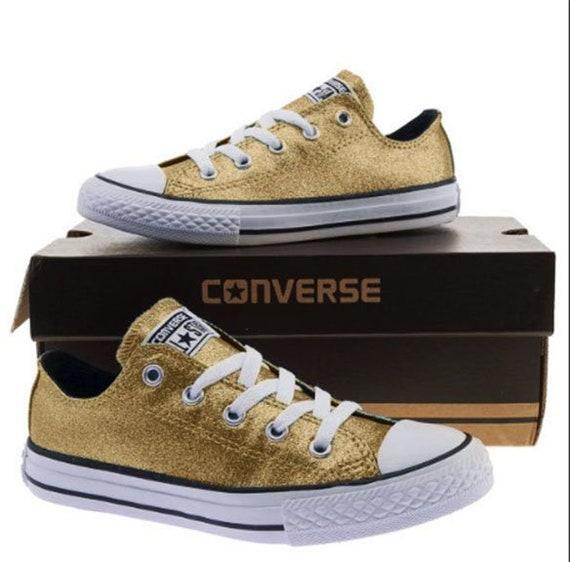 Gold Glitter Custom Made Converse All