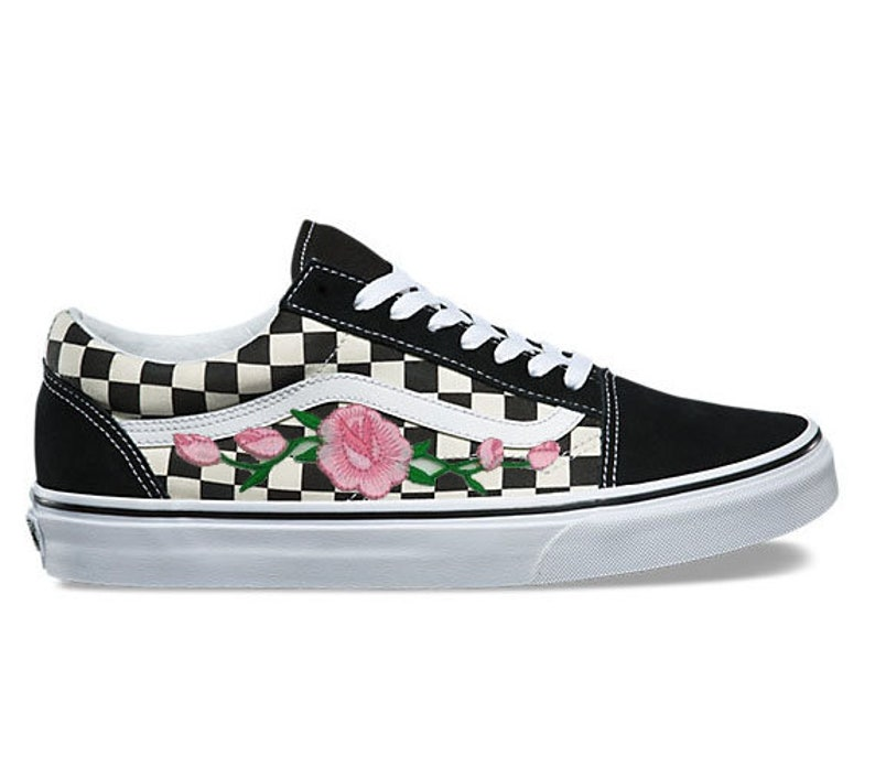 6852f0fc81 Rose Buds Pink Custom Embroidered Vans Checkered Old Skool