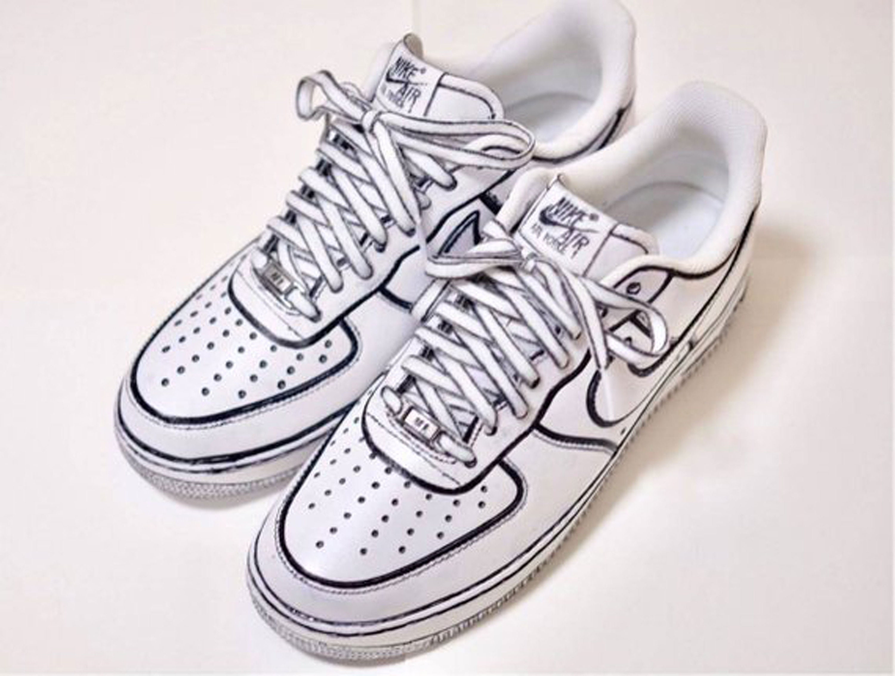 get online huge selection of in stock Cartoon inspired Custom Hand Painted Nike Air Force 1 Shoe (NEW) - Black  Trimmed Trending Now