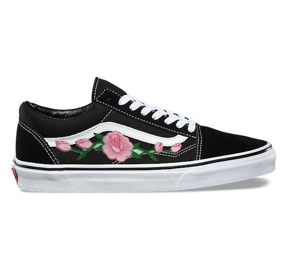 eda606386a Rose Buds (Pink) Custom Embroidered Vans Old Skool Skate Shoe (NEW)  Trending Item