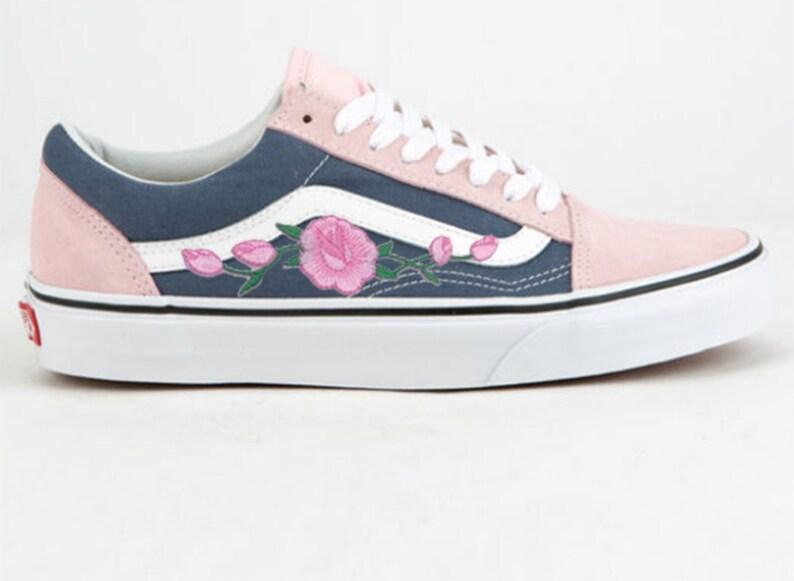 Pink Rose Buds Custom Embroidered Vans Old Skool Pink Skate  6fa203d3b