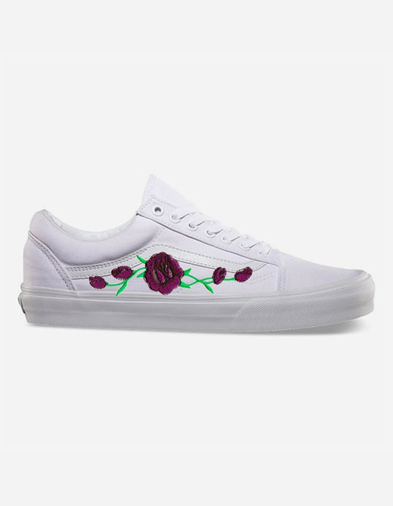 f8204ae450a3a2 Rose Buds Purple Custom Embroidered Vans White Old Skool