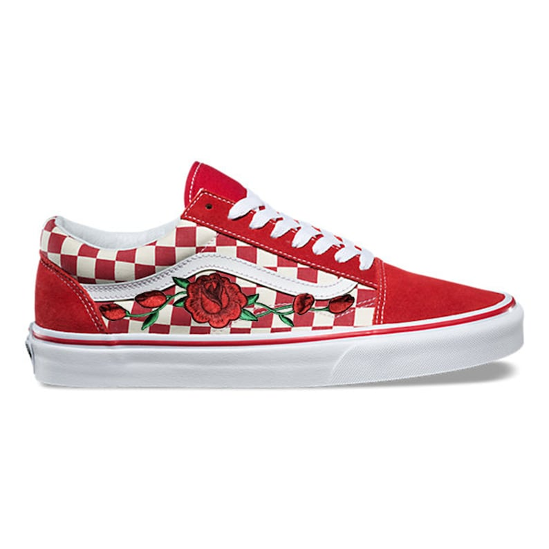 64d330c409b289 Rose Buds Custom Embroidered Vans White Red Checkered Old