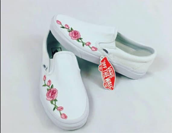 Rose Buds (Pink) Custom Embroidered Vans Slip-On White Skate Shoe (NEW) -  Trending Now