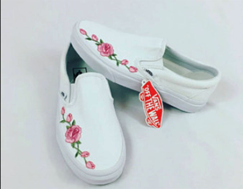 Rose Buds Pink Custom Embroidered Vans Slip-On White Skate  d9e60bf98
