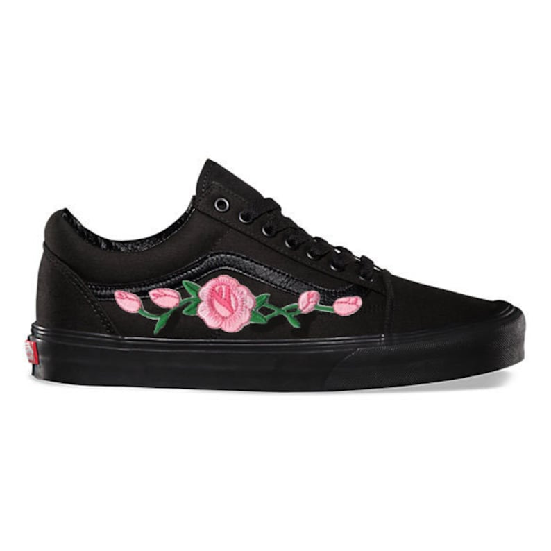322d8c6b31e Rose Buds Pink Custom Embroidered Vans Black Mono Old Skool