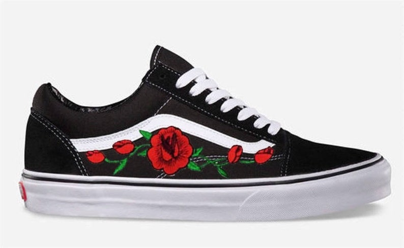 7b7ee2fb401c6 Rose Buds Custom Embroidered Vans Old Skool Skate Shoe (NEW) Trending Now