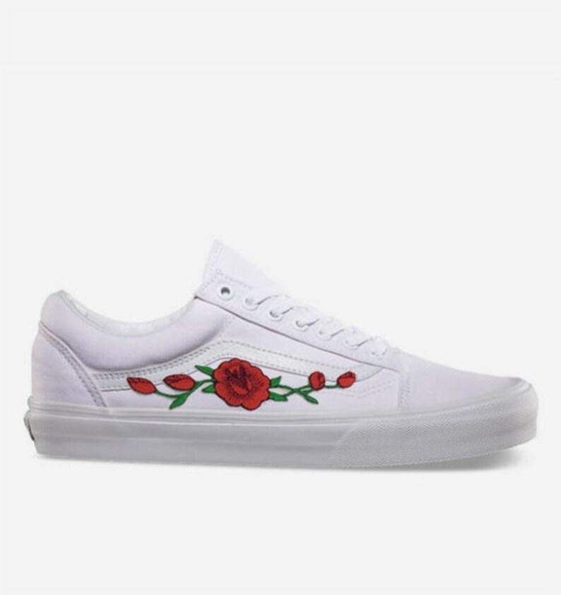 3e37c26cabb47 Rose Buds Custom Embroidered Vans White Old Skool Skate Shoe (NEW) Trending  Now